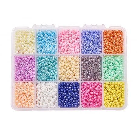 Acheter Boite de 15 couleurs de rocailles - 3mm - 11,99€ en ligne sur La Petite Epicerie - Loisirs créatifs