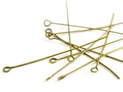 10 bronze-coloured eye pins - 50 mm