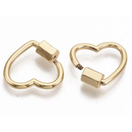 Acheter Fermoir mousqueton à visser - 18, 5 mm - cœur doré à l'or fin - 4,29€ en ligne sur La Petite Epicerie - Loisirs créa...
