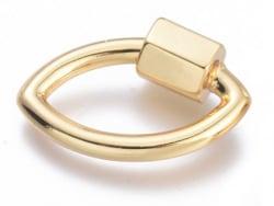 Acheter Fermoir mousqueton à visser forme oeil - 19 x 12 mm - doré à l'or fin 18 K - 6,49€ en ligne sur La Petite Epicerie -...