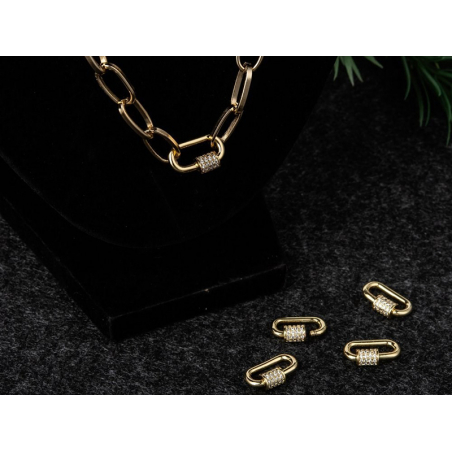 Acheter Fermoir mousqueton à visser - 17x 10 mm - doré à l'or fin et incrusté de cubic zirconia - 5,99€ en ligne sur La Peti...