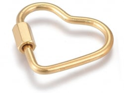 Acheter Fermoir mousqueton à visser - coeur - 21,5 x 24 mm - acier inoxydable doré - 4,49€ en ligne sur La Petite Epicerie -...
