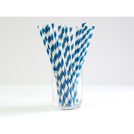 25 Pailles en papier - sucre d'orge bleu