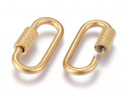 Acheter Fermoir mousqueton à visser ovale - 21 x 10 mm - acier inoxydable doré - 4,99€ en ligne sur La Petite Epicerie - Loi...