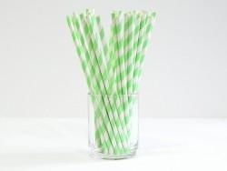 25 Pailles en papier - sucre d'orge vert pomme