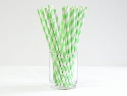 25 Papierstrohhalme - apfelgrüne Zuckerstange