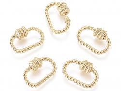Acheter Fermoir mousqueton à visser ovale effet corde - 10 x 14 mm - doré - 3,19€ en ligne sur La Petite Epicerie - Loisirs ...