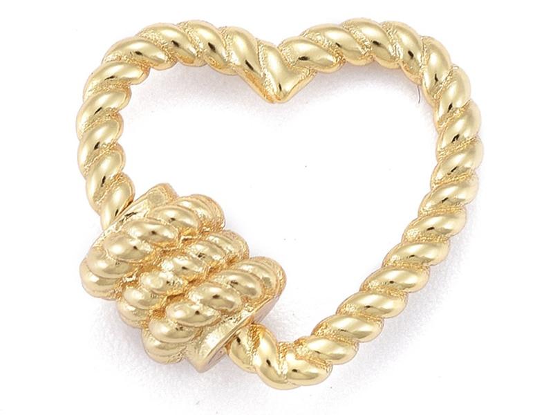 Acheter Fermoir mousqueton à visser cœur effet corde - 16 x 17 mm - doré - 3,99€ en ligne sur La Petite Epicerie - Loisirs c...