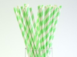 25 paper straws - apple-green candy cane