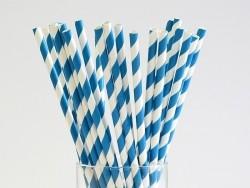 25 Papierstrohhalme - blaue Zuckerstange