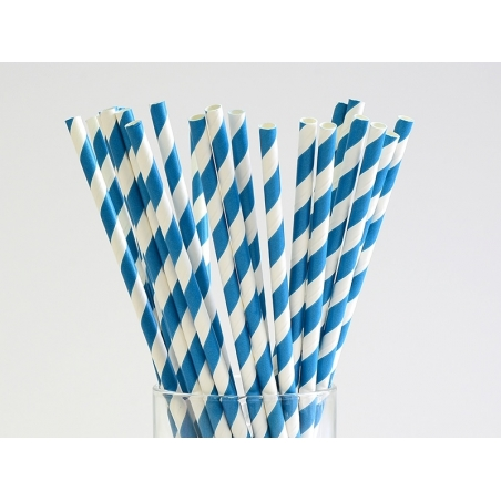 25 paper straws - Blue candy cane