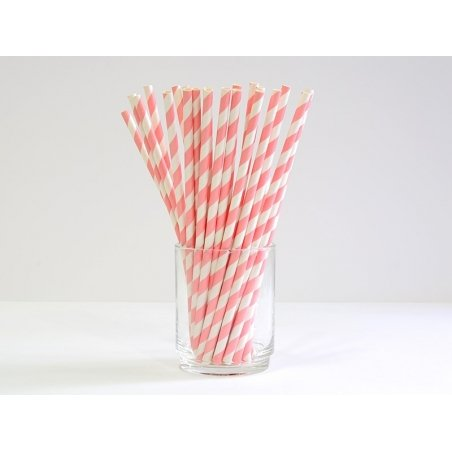 25 paper straws - Peachy pink candy cane