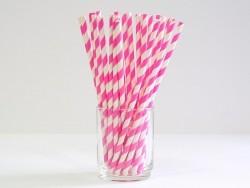25 Pailles en papier - sucre d'orge rose