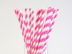 25 Papierstrohhalme - rosafarbene Zuckerstange