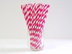 25 Pailles en papier - sucre d'orge rose fuschia