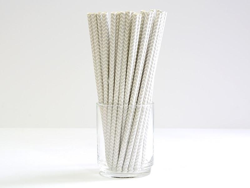 25 paper straws - Grey zigzag pattern