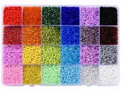 Acheter Boite de 24 couleurs de perles de rocailles multicolores - 3 mm - 14,99€ en ligne sur La Petite Epicerie - Loisirs c...