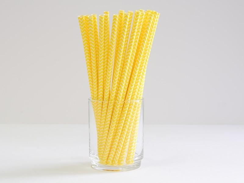 25 paper straws - Yellow zigzag pattern