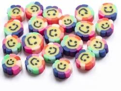 Acheter 20 perles fleur sourire en pâte polymère - 9 mm - 1,99€ en ligne sur La Petite Epicerie - Loisirs créatifs