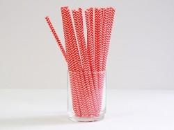 25 paper straws - Red zigzag pattern