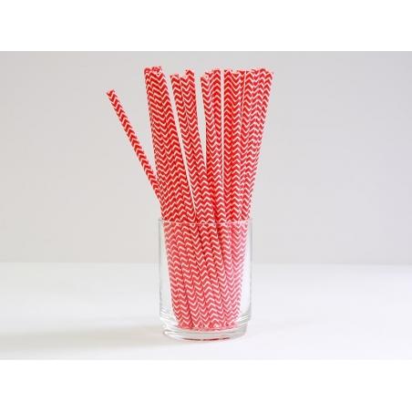 25 Pailles en papier - zigzag rouge  - 1