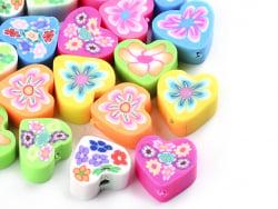 Acheter 20 perles cœurs effet millefiori en pâte polymère - multicolore - 9 mm - 1,99€ en ligne sur La Petite Epicerie - Loi...