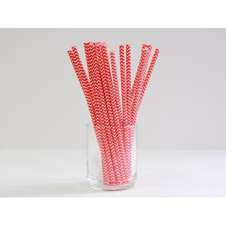 25 Pailles en papier - zigzag rouge  - 2