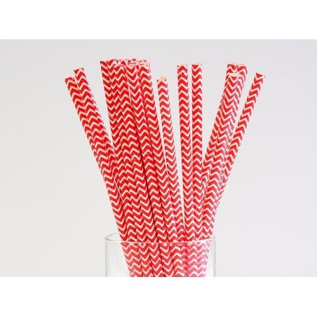 25 Pailles en papier - zigzag rouge  - 3