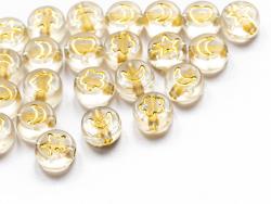 Acheter 20 perles rondes en plastique - mix fleurs, étoiles et cœur - transparent et doré - 7 mm - 0,99€ en ligne sur La Pet...