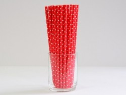 25 paper straws - Red with white polka dots