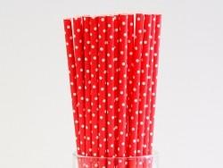 25 Pailles en papier - rouge à pois blancs