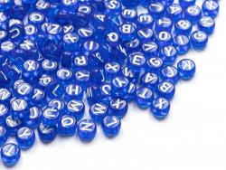 Acheter 200 perles rondes en plastique - lettres alphabet - bleu roi transparent - 7 mm - 3,99€ en ligne sur La Petite Epice...