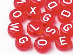 Acheter 200 perles rondes en plastique - lettres alphabet - rouge transparent - 7 mm - 3,99€ en ligne sur La Petite Epicerie...