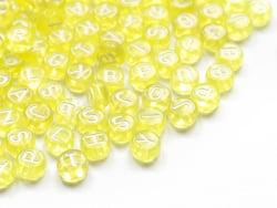 Acheter 200 perles rondes en plastique - lettres alphabet - jaune transparent - 7 mm - 3,99€ en ligne sur La Petite Epicerie...