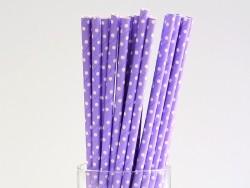 25 Papierstrohhalme - mauve mit weißen Punkten