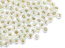 Acheter 200 grosses perles rondes en plastique - lettres alphabet - paillettes et or - 10 mm - 7,99€ en ligne sur La Petite ...