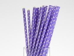 25 Pailles en papier - mauve à pois blancs