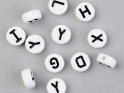 Acheter 200 grosses perles rondes en plastique - lettres alphabet - blanc et noir - 9,5 mm - 7,99€ en ligne sur La Petite Ep...