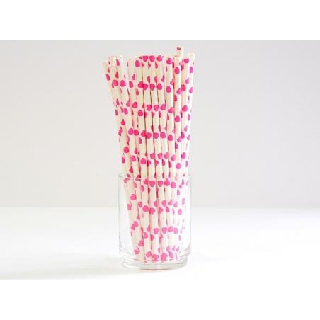 25 Pailles en papier - blanc à coeurs roses