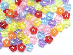 Acheter 200 perles fleurs en plastique - lettres alphabet - mix couleur transparentes - 12 mm - 8,99€ en ligne sur La Petite...