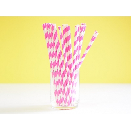 25 paper straws - Pink candy cane
