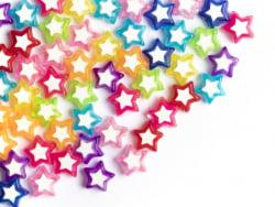 Acheter 50 perles en plastique étoiles - transparent et blanc - 9x10 mm - 3,19€ en ligne sur La Petite Epicerie - Loisirs cr...