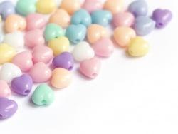 Acheter 50 mini perles cœur en plastique - pastel - 7 mm - 1,29€ en ligne sur La Petite Epicerie - Loisirs créatifs