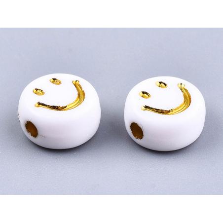 Acheter 20 perles en plastique rondes symbole sourire - blanc et doré - 7 mm - 0,99€ en ligne sur La Petite Epicerie - Loisi...