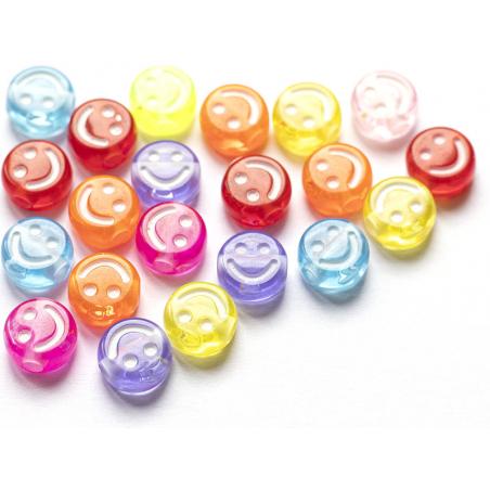 Acheter 20 perles en plastique rondes symbole sourire -multicolore - 10 mm - 1,19€ en ligne sur La Petite Epicerie - Loisirs...
