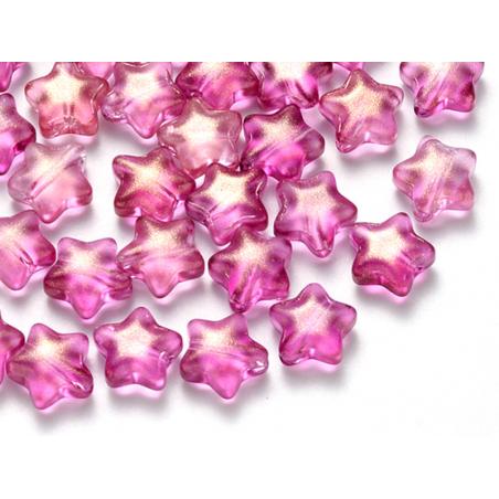 Acheter 20 perles en verre - étoiles rose fuschia pailleté - 8 mm - 3,49€ en ligne sur La Petite Epicerie - Loisirs créatifs