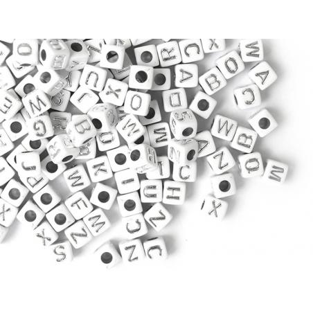 Acheter 200 mini perles carrées - cubes en plastique - lettres alphabet - blanc et argenté - 4,5 mm - 3,99€ en ligne sur La ...