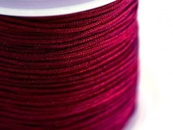 1 m of braided nylon cord, 1 mm - bordeaux-coloured