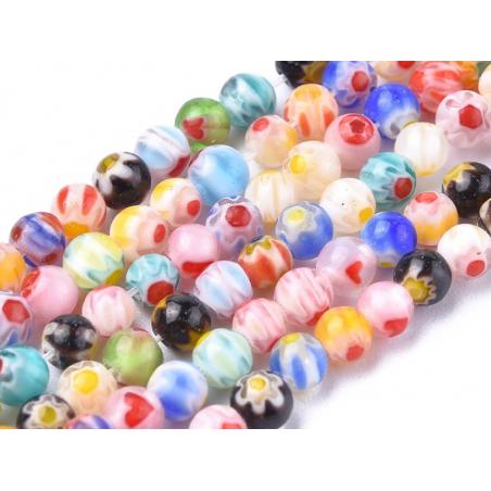 Acheter 20 perles ronde en verre - millefiori multicolore - 4 mm - 0,99€ en ligne sur La Petite Epicerie - Loisirs créatifs