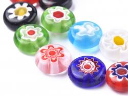 Acheter 20 perles millefiori en verre - rond plat - 10x4 mm - 4,39€ en ligne sur La Petite Epicerie - Loisirs créatifs